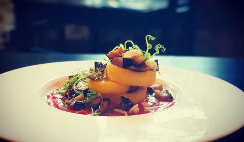 Crisp Polenta, tomato, aubergines, toasted almonds.